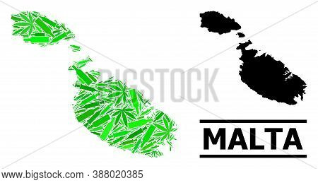 Addiction Mosaic And Solid Map Of Malta. Vector Map Of Malta Is Designed Of Randomized Vaccine Symbo