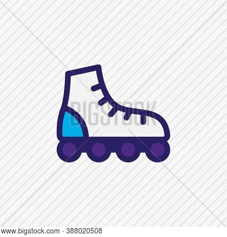 Illustration Of Roller Skates Icon Colored Line. Beautiful Vehicle Element Also Can Be Used As Rolle