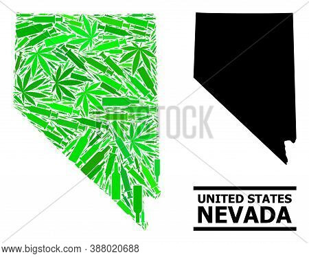 Addiction Mosaic And Usual Map Of Nevada State. Vector Map Of Nevada State Is Made With Random Vacci