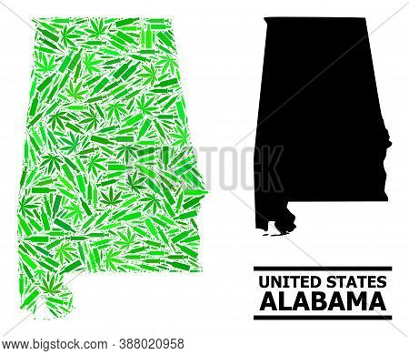 Addiction Mosaic And Usual Map Of Alabama State. Vector Map Of Alabama State Is Created Of Randomize