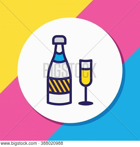 Vector Illustration Of Champagne Icon Colored Line. Beautiful Banquet Element Also Can Be Used As Fi