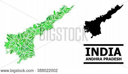 Drugs Mosaic And Usual Map Of Andhra Pradesh State. Vector Map Of Andhra Pradesh State Is Created Fr