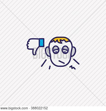 Illustration Of Pessimistic Icon Colored Line. Beautiful Emoticon Element Also Can Be Used As Dislik