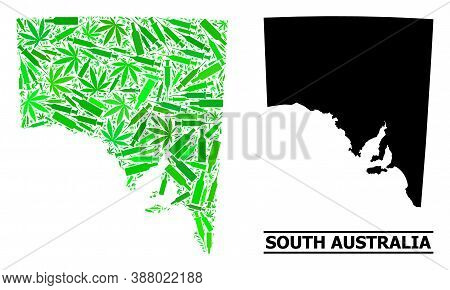 Drugs Mosaic And Solid Map Of South Australia. Vector Map Of South Australia Is Organized With Scatt