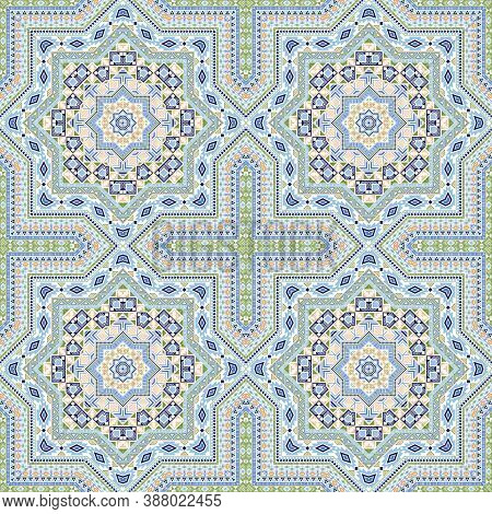 Fine Moroccan Zellige Tile Seamless Pattern. Geometric Texture Vector Swatch. Pottery Print Design.
