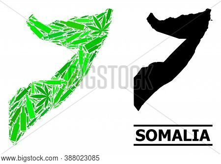 Drugs Mosaic And Solid Map Of Somalia. Vector Map Of Somalia Is Constructed From Randomized Syringes