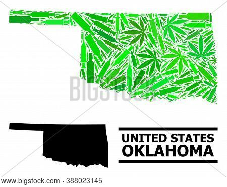 Drugs Mosaic And Solid Map Of Oklahoma State. Vector Map Of Oklahoma State Is Constructed With Rando