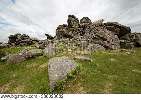 Hound Tor Rock Formation In Dartmoor, Devon, Uk