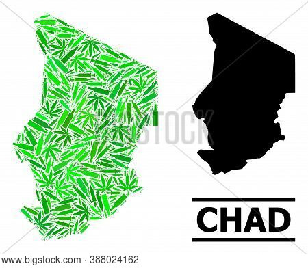 Addiction Mosaic And Usual Map Of Chad. Vector Map Of Chad Is Done Of Scattered Vaccine Doses, Dope