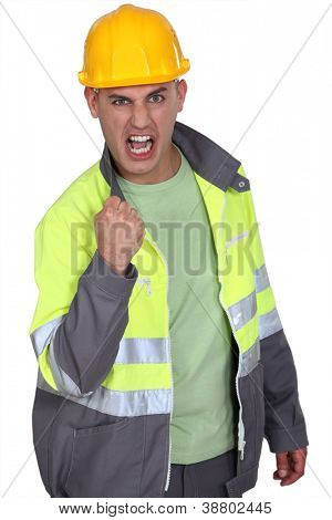 Aggressive construction worker rejoicing