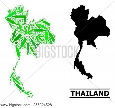 Drugs Mosaic And Solid Map Of Thailand. Vector Map Of Thailand Is Designed With Random Syringes, Can