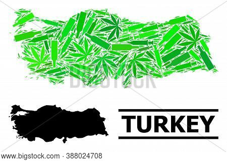 Drugs Mosaic And Solid Map Of Turkey. Vector Map Of Turkey Is Constructed With Randomized Injection