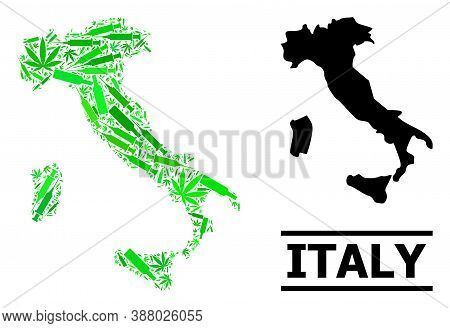 Addiction Mosaic And Usual Map Of Italy. Vector Map Of Italy Is Made Of Scattered Vaccine Symbols, C