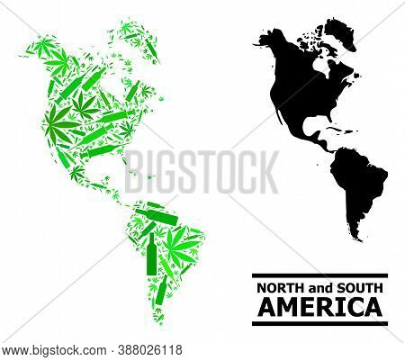 Addiction Mosaic And Solid Map Of South And North America. Vector Map Of South And North America Is