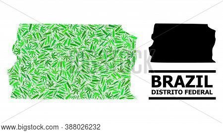 Drugs Mosaic And Solid Map Of Brazil - Distrito Federal. Vector Map Of Brazil - Distrito Federal Is