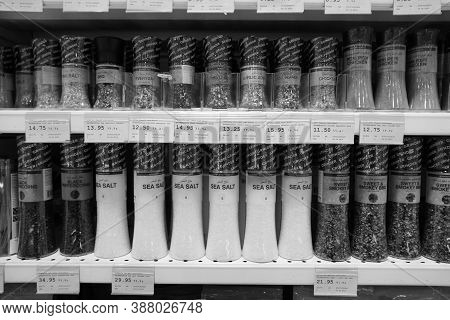 Black And White Photo Of Sea Salt, Pepper, Spices, Herbs, Coriander Etc Put In Shelves For Sale. She
