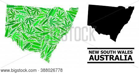 Drugs Mosaic And Solid Map Of New South Wales. Vector Map Of New South Wales Is Composed With Random