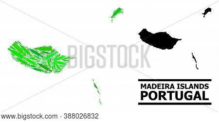 Drugs Mosaic And Solid Map Of Madeira Islands. Vector Map Of Madeira Islands Is Created With Random
