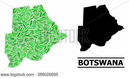 Drugs Mosaic And Solid Map Of Botswana. Vector Map Of Botswana Is Made With Randomized Inoculation I