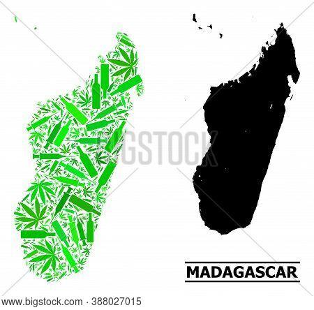 Addiction Mosaic And Usual Map Of Madagascar Island. Vector Map Of Madagascar Island Is Made From Ra