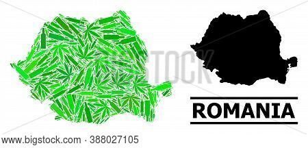 Drugs Mosaic And Solid Map Of Romania. Vector Map Of Romania Is Constructed Of Randomized Vaccine Do