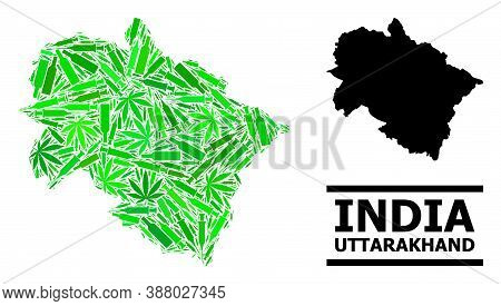 Addiction Mosaic And Usual Map Of Uttarakhand State. Vector Map Of Uttarakhand State Is Organized Of