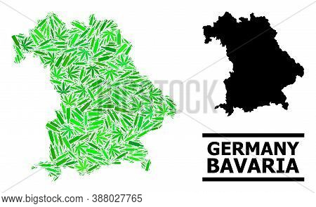 Drugs Mosaic And Solid Map Of Bavaria State. Vector Map Of Bavaria State Is Done With Random Syringe