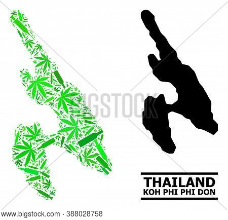 Drugs Mosaic And Solid Map Of Koh Phi Don. Vector Map Of Koh Phi Don Is Made Of Scattered Syringes,