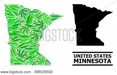 Addiction Mosaic And Usual Map Of Minnesota State. Vector Map Of Minnesota State Is Composed With Sc