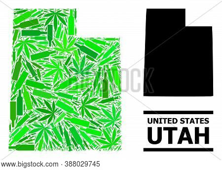 Drugs Mosaic And Usual Map Of Utah State. Vector Map Of Utah State Is Made From Random Inoculation I