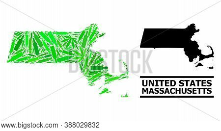 Drugs Mosaic And Usual Map Of Massachusetts State. Vector Map Of Massachusetts State Is Designed Of