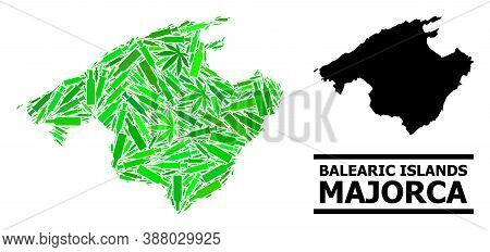 Drugs Mosaic And Solid Map Of Majorca. Vector Map Of Majorca Is Constructed Of Scattered Injection N