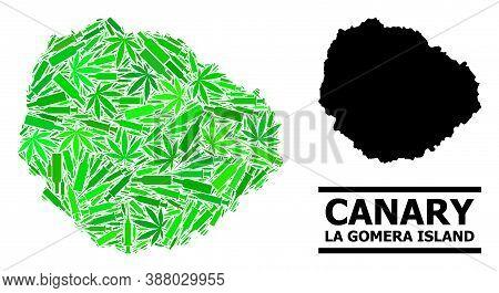 Drugs Mosaic And Solid Map Of La Gomera Island. Vector Map Of La Gomera Island Is Composed Of Random
