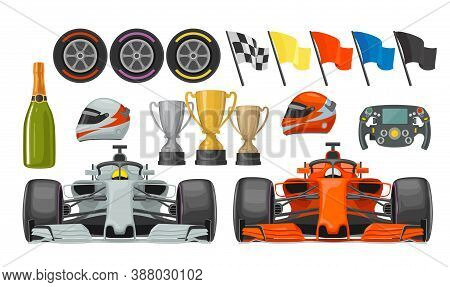 Set Race Icons. Helmet, Car, Helm, Bottle Champagne, Wheel, Winner Cup, Checkered And Other Flags. V