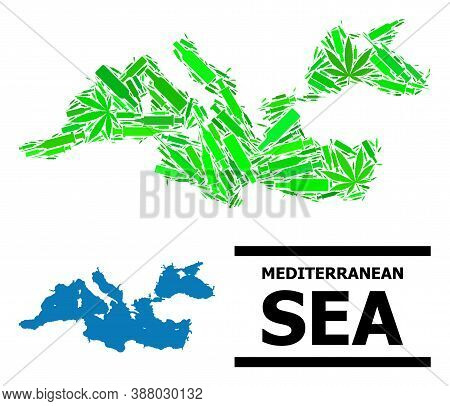 Addiction Mosaic And Usual Map Of Mediterranean Sea. Vector Map Of Mediterranean Sea Is Organized Fr