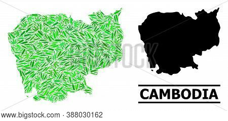 Drugs Mosaic And Usual Map Of Cambodia. Vector Map Of Cambodia Is Composed From Randomized Injection