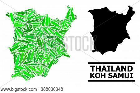 Drugs Mosaic And Solid Map Of Koh Samui. Vector Map Of Koh Samui Is Done With Random Inoculation Ico