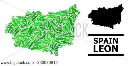Addiction Mosaic And Usual Map Of Leon Province. Vector Map Of Leon Province Is Made Of Scattered In