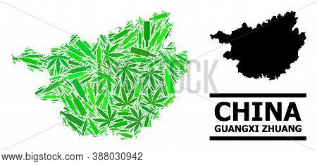 Drugs Mosaic And Usual Map Of Guangxi Zhuang Region. Vector Map Of Guangxi Zhuang Region Is Construc