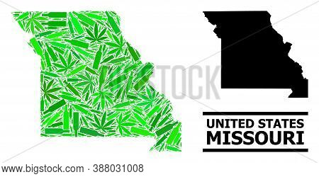 Drugs Mosaic And Solid Map Of Missouri State. Vector Map Of Missouri State Is Designed With Random S