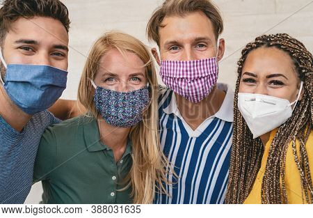 Friends Wearing Face Protective Mask To Avoid Corona Virus Spread - Young Millennial People Portrait