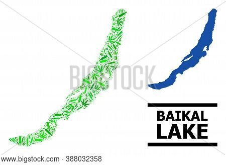 Drugs Mosaic And Usual Map Of Baikal. Vector Map Of Baikal Is Created Of Randomized Vaccine Doses, W