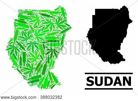 Drugs Mosaic And Usual Map Of Sudan. Vector Map Of Sudan Is Created Of Random Inoculation Icons, Mar