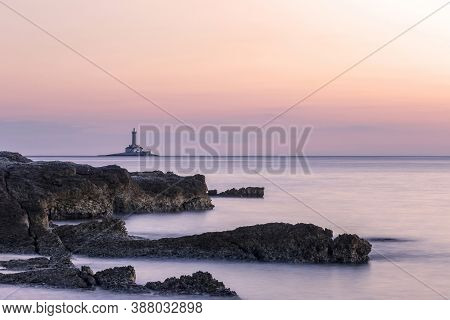 Lighthouse Porer At Sunset, View From Njive Bay, Cape Kamenjak, Premantura, Istria, Croatia, Long Ex