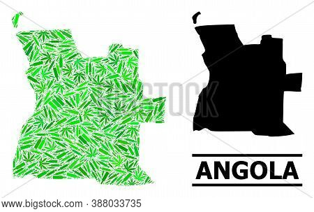 Drugs Mosaic And Solid Map Of Angola. Vector Map Of Angola Is Made Of Randomized Vaccine Symbols, He