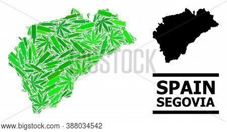 Drugs Mosaic And Solid Map Of Segovia Province. Vector Map Of Segovia Province Is Constructed With R