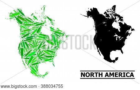 Drugs Mosaic And Solid Map Of North America. Vector Map Of North America Is Made With Random Vaccine