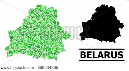 Drugs Mosaic And Solid Map Of Belarus. Vector Map Of Belarus Is Composed From Randomized Injection N