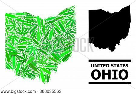 Addiction Mosaic And Solid Map Of Ohio State. Vector Map Of Ohio State Is Done From Randomized Vacci