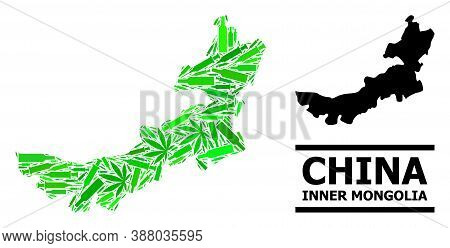 Drugs Mosaic And Solid Map Of Inner Mongolia. Vector Map Of Inner Mongolia Is Organized Of Random Sy